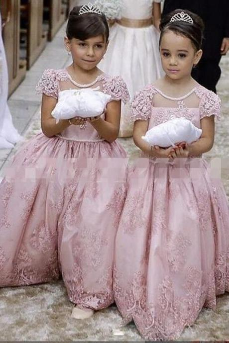 Flower Girl Dress Flower Girl Dresses Round Neck Sheer Short Sleeves Ball Gown Princess Dress Girls Dress Pageant Dress First Commision Dress Lace Dresses