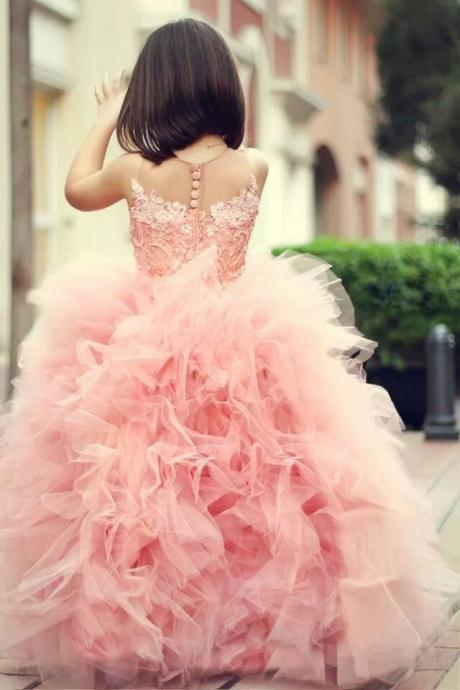 Round Neck Pink Tulle Dress Ball Gown Lace Dress Girls Pageant Dresses First Commision Dresses Illusion Neck Formal Dress