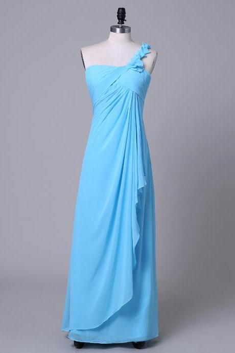 Bridesmaid Dresses Bridesmaid Gown 2016 New Style One-Shoulder Prom Dresses Blue Dress Long Dress for Girls Maid of Hornor Dress for Weddings