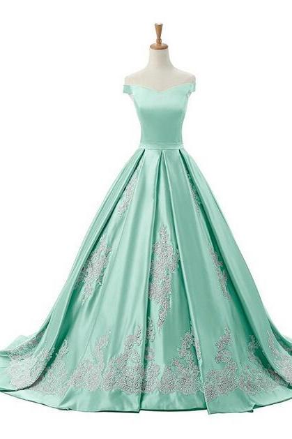 Off-the-shoulder Floor-length Satin Quinceanera Dress with Applique Embellishments