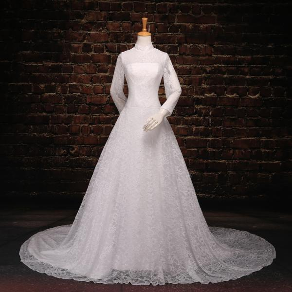 Long sleeved high collar white lace wedding dresses for High collared wedding dress